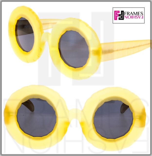 258126f6440 Linda Farrow Jeremy Scott Pool Frosty Lemon Round Polarized ...