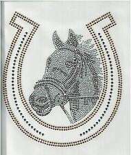 Horse Rhinestone iron on transfer DIY hot fix applique Horseshoe cowgirl deco