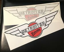 """Detroiter Travel Trailer Camper Coach 12""""; 2 Decals Red, White & Black"""