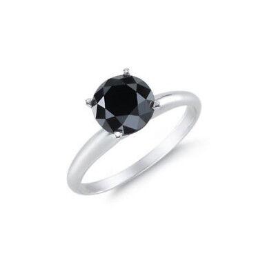 Diamant Ring Solitär 1,00 ct. schwarzer Diamant 585 14K ...