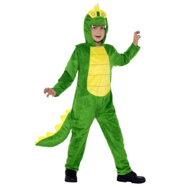 Kids Boys Girls Wild Animal Crocodile Jumpsuit Fancy Dress Book Day Pan Costume