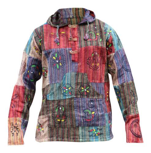 Hippie colorati bloccati Boho Acidwashed Grandad Festival Camicia con patchwork