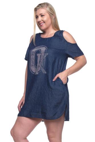 NWT Light Weight Denim Open-Shoulder Top Dress,size M to 3XL,SG-96330