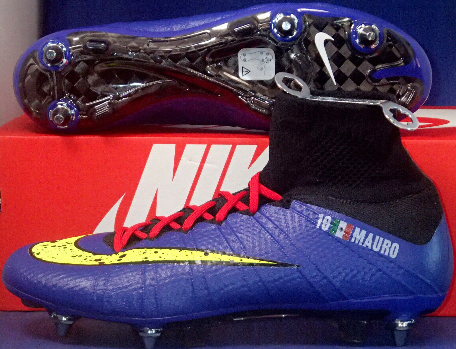 Nike volubile superfly sg (id blu giallo stivali neri sz (688578-981)