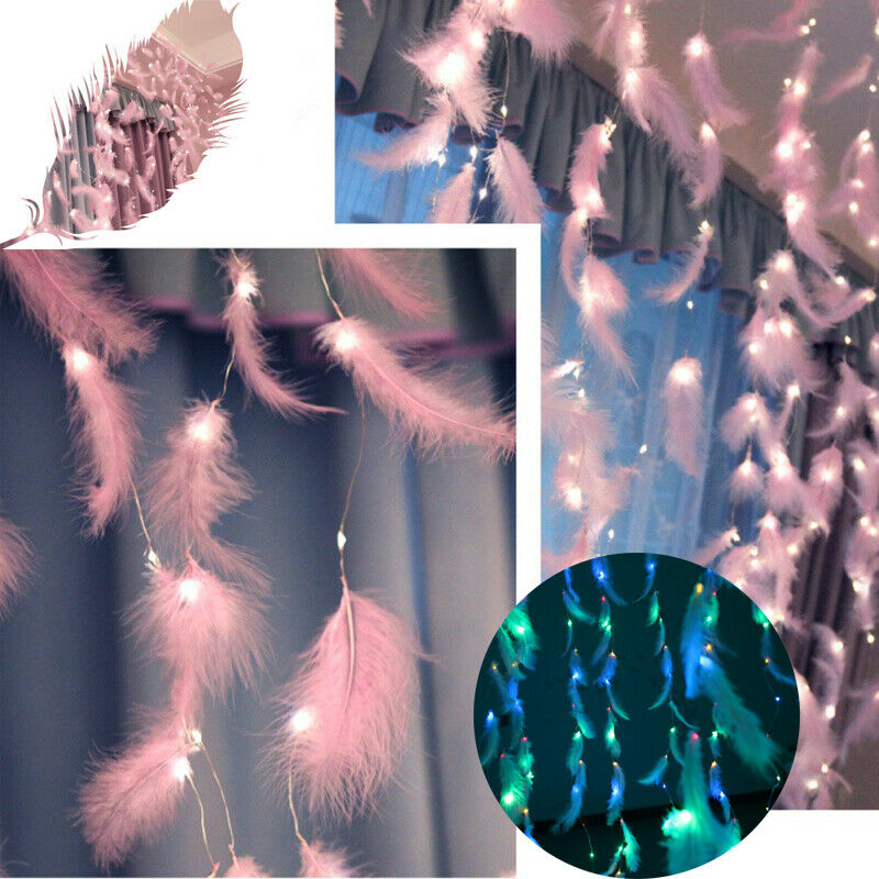 300 LED Feather String Light Pink Curtain Fairy Lights Copper Wire USB Remote RK