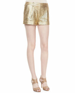 DIANE-VON-FURSTENBURG-Naples-Laser-Cut-Leather-Short-in-Gold-Nude-Size-6