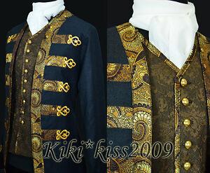 Military-Uniform-Victorian-Noble-Wool-Suit-Jacket-Custom-made-Midnight-blue