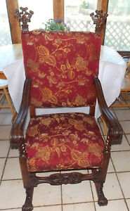 ac116 Kind-Hearted Walnut Carved Throne Hall Entry Dinette Chair Smoothing Circulation And Stopping Pains