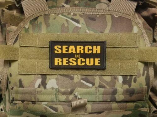 "2x4/"" Search and Rescue Gold Black Tactical Placard Patch For Plate Carrier K-9"