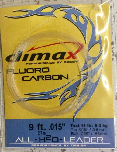 Climax Tapered Fluorocarbon Leader 9 ft .015 18lb W//Loop