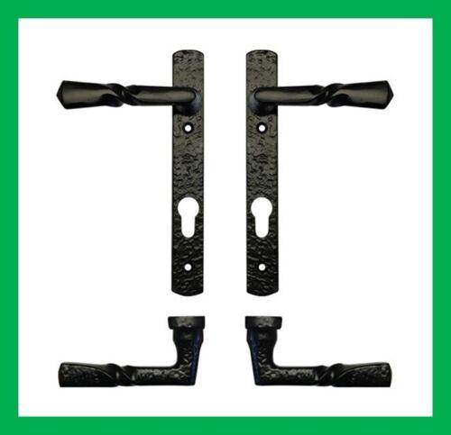 Black Antique 220mm Multipoint UPVC Narrow Backplate Lever Lock Door Handles Set