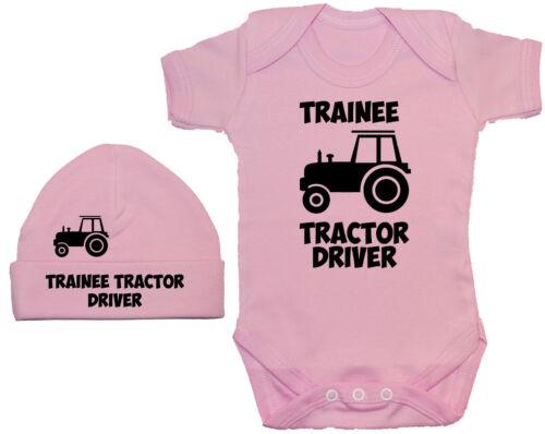Trainee Tractor Driver Baby Grow//Romper /& Beanie Hat//Cap 0-12m Boy Girl