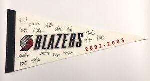 2002-03-Portland-Trailblazers-Felt-Pennant-Banner-Blazers-NBA-Basketball-Signed