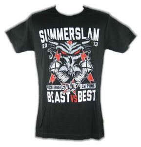 38df79b9 Brock Lesnar CM Punk Summerslam Best vs Beast WWE Mens T-shirt | eBay
