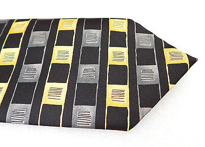 Next silk check tie Black grey gold Mens formal office wear Striped