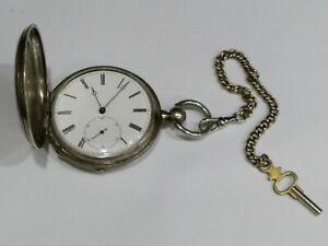 Antique-Coin-Silver-Key-Wind-Pocket-Watch-By-Schneider-New-York-parts-or-repair