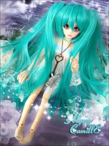 "7/"" 1//4 SD//BJD Doll Hair Wig Anime VOCALOID Hatsune Miku Cosplay Long Green Wig"