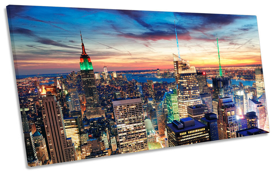 New York City Skyline Dawn Sunset PANORAMIC BOX FRAME CANVAS ART Picture