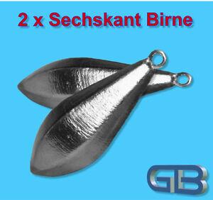2-x-Sechskant-Blei-mit-Ose-70g-80g-90g-100g-Angelblei-Grundblei-Karpfenblei