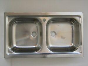 Dettagli su Lavello per cucina inox incasso 2 vascchette con pilettoni  lavelli di ricambio