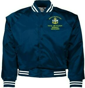NAVAL AIR STATION MERIDIAN MISSISSIPPI NAVY EMBROIDERED 2-SIDED SATIN JACKET