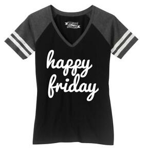 Ladies Happy Friday Game V-Neck Tee Weekend Party