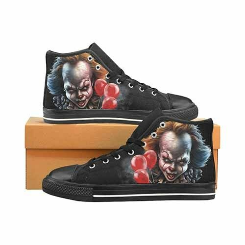 Pennywise IT Horror Movie Clown Uomo's Classic High Top Canvas Shoes