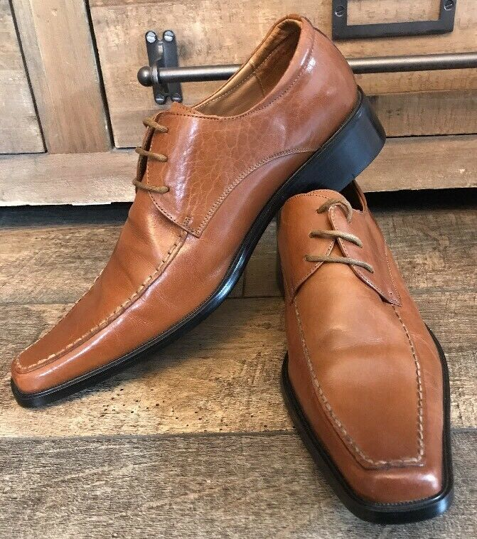Men's Snip Moc Toe Casanova Dress shoes Milano Brown Leather Size 41 EU