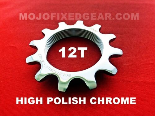 POLISHED CHROME Cro-Mo TRACK 12 TOOTH 1//8 INCH CNC MOJO 12T FIXED GEAR COG