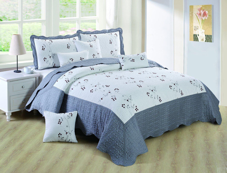 Luxury Grey Bedspread Cotton Filling Comforter Set And Pillow Shams 270 x 250 cm
