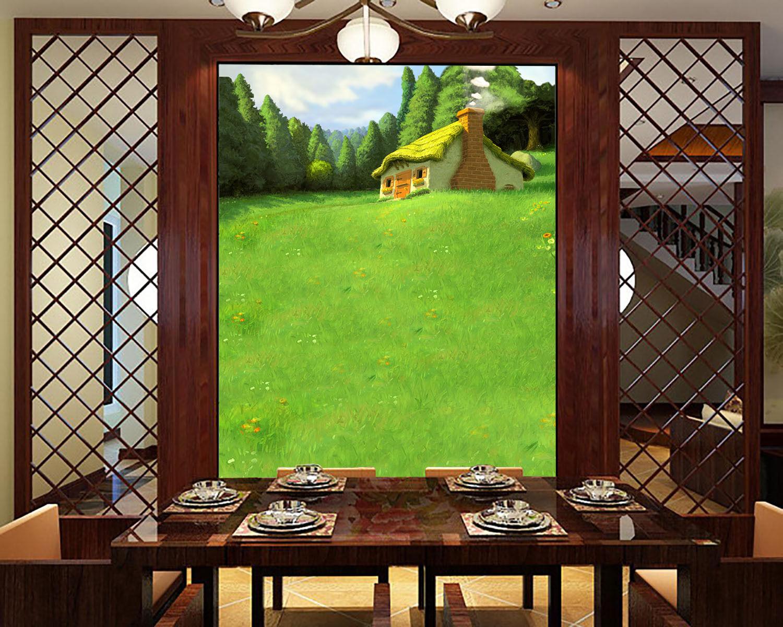 3D Grüne Prairie 17 Photo Papier Peint en Autocollant Murale Plafond Chambre Art