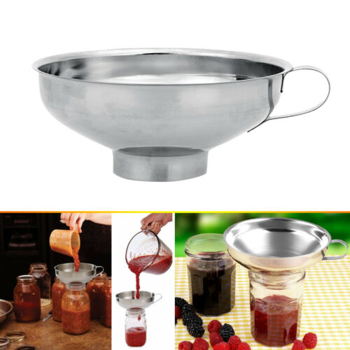 Stainless Steel Wide Mouth Canning Jar Funnel Cup Hopper Filter Kitchen Tools