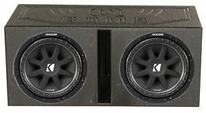 KICKER-43C124-12-Inch-Subwoofers-2-Pack-amp-Q-POWER-Ported-Box-w-Bedliner-Spray