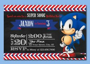 Sonic the hedgehog personalized birthday invitations ebay image is loading sonic the hedgehog personalized birthday invitations filmwisefo