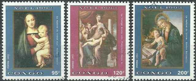 Timbres Religion Noel Congo 962G/J o lot 3534