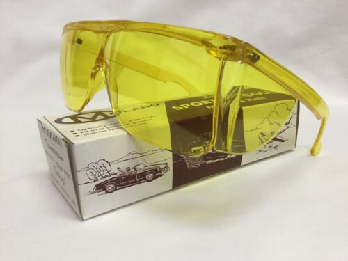 Vintage 1960/'s 70/'s Safety Sport Goggle Yellow Polycarbonate Fits Over Glasses