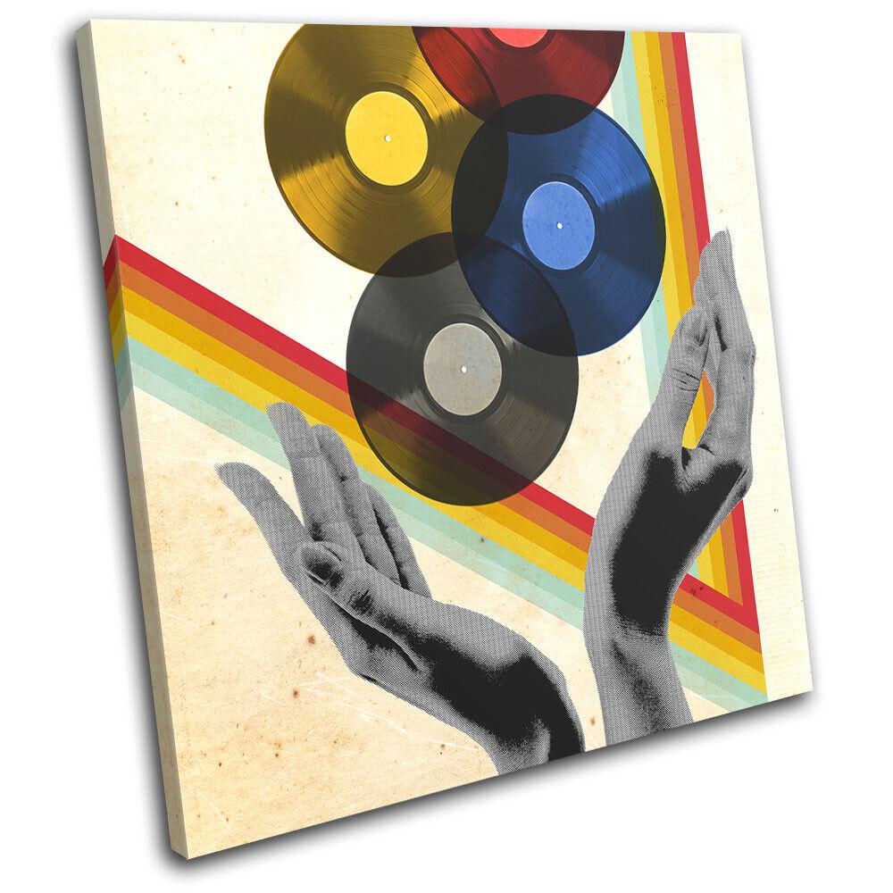 Retro Record Vinyl Abstract Decks Vintage SINGLE Leinwand Kunst Bild drucken