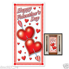 """1 HAPPY VALENTINE'S DAY Party Decoration Plastic HEARTS DOOR COVER Mural 30""""x60"""""""