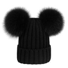 item 2 Womens Ladies Winter Warm Chunky Knit Cap With Double Fur Pom Pom  Beanie Hat UK -Womens Ladies Winter Warm Chunky Knit Cap With Double Fur Pom  Pom ... 7feb213e50bb