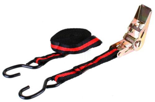 Sangle d/'arrimage à Cliquet avec Crochets en Acier  5 mètres x 25 mm  Max 250 kg