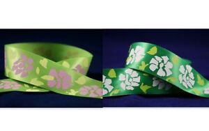 5yds-38mm-Flowers-Printed-Satin-Ribbon-2-Colours-U-PICK