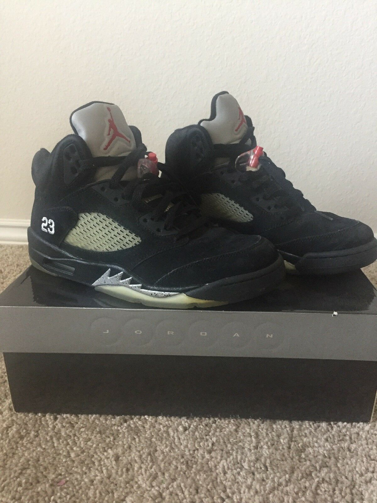 2011 V NIKE AIR JORDAN 5 V 2011 RETRO black/red-metallic silver 136027-010 sz 9.5 7b59a6