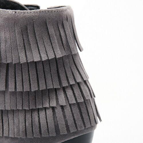 Mode Damenstiefeletten Knöchel Rund Quasten Pumps 34-43 Blockabsatz Freizeit B