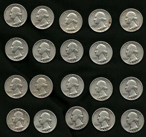 Lot-of-20-Washington-Silver-Quarters-Coins-Years-1952-1953-1954-and-1956