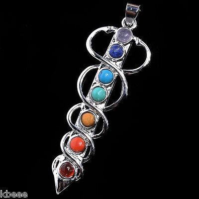 Snake Sword Mix 7Gemstone Chakra Healing Point Charm Energy Pendant Fit Necklace