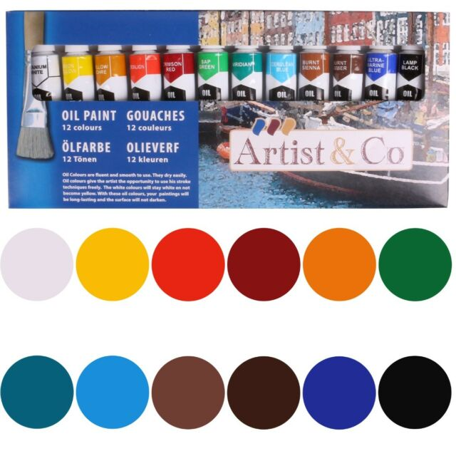 12 COLOURS OIL PAINT SET 12ml Fast Dry Artist Quality Thick Smooth Craft Tube