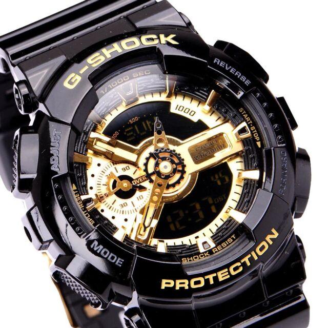 5c680336acecb Casio Watch G-shock Ga-110gb-1adr Black Gold Mens 50mm Dial  1452 ...