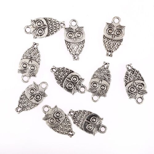 10PCS Tibetan Silver Owl Alloy Bead Charms Pendant Fit Jewelry Making 18*10mm