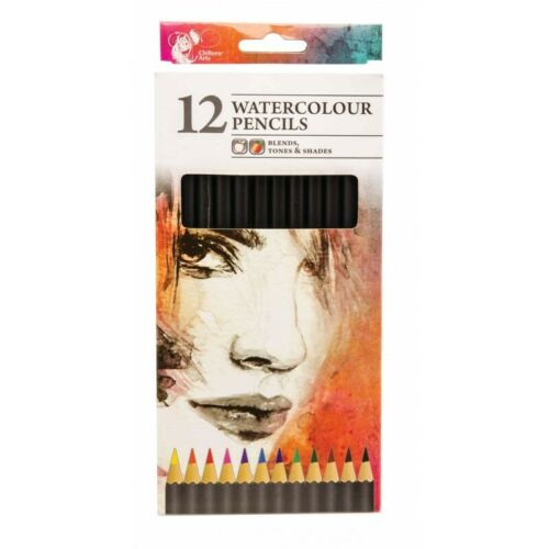 Pack Of 12 Artist Watercolour Colouring Pencils Assorted Colours Blends Tones