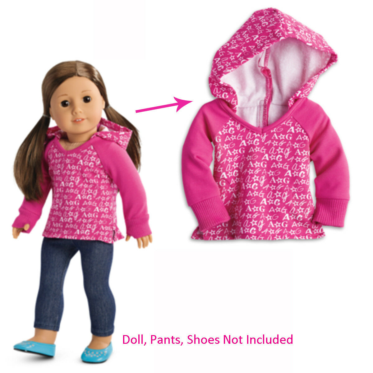 American Girl Doll Pink V Neck Hoodie Only Thumbhole Tenney McKenna Isabelle